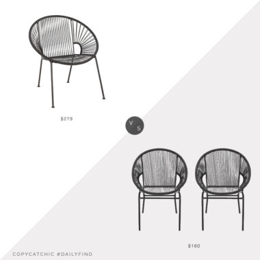 Daily Find: CB2 Ixtapa Black Chair vs. Target Nusa Faux Rattan Patio Chair Set of 2, outdoor string chair look for less, copycatchic luxe living for less, budget home decor and design, daily finds, home trends, sales, budget travel and room redos