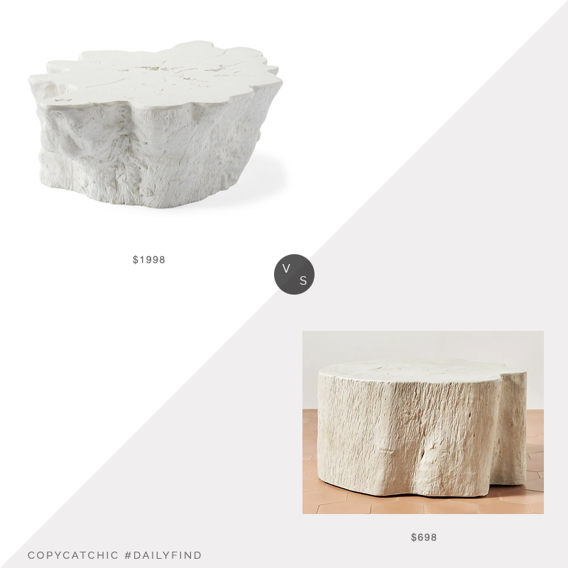 Daily Find: Serena and Lily Boonville Coffee Table vs. Anthropologie Live Edge Concrete Coffee Table, white stump coffee table look for less, copycatchic luxe living for less, budget home decor and design, daily finds, home trends, sales, budget travel and room redos