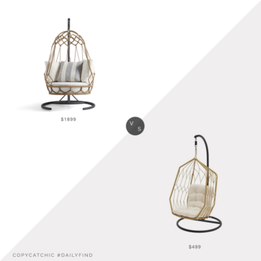 Daily Find: Arhaus Marina Outdoor Hanging Chair with Stand vs. Home Depot Hampton Bay Diamond Outdoor Egg Lounge Chair, hanging chair look for less, copycatchic luxe living for less, budget home decor and design, daily finds, home trends, sales, budget travel and room redos