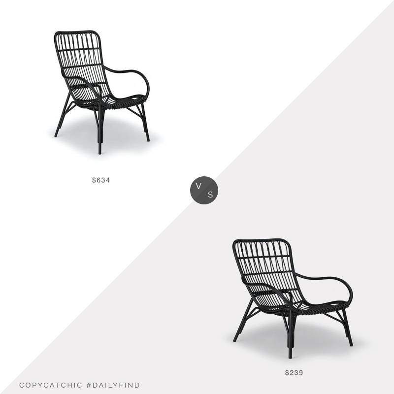 Daily Find: Kathy Kuo Home Alexis Black Rattan Arm Chairvs. Article Graphite Wicker Outdoor Lounge Chair, black rattan chair look for less, copycatchic luxe living for less, budget home decor and design, daily finds, home trends, sales, budget travel and room redos