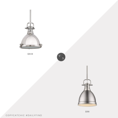 Daily Find: Lumens Pelham Pendant by Hudson Valley Lighting vs. LampsPlus Duncan Pewter Mini Pendant with Rod, silver pendant light look for less, copycatchic luxe living for less, budget home decor and design, daily finds, home trends, sales, budget travel and room redos