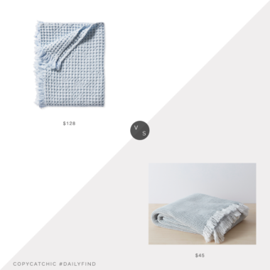 Daily Find: Serena and Lily Beachcomber Cotton Throw vs. Walmart Allswell Stonewashed Cotton Throw, blue throw blanket look for less, copycatchic luxe living for less, budget home decor and design, daily finds, home trends, sales, budget travel and room redos