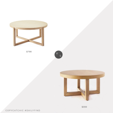 Daily Find: Serena and Lily Clifton Coffee Tablevs. Target Threshold Designed with Studio McGee Rose Park Round Wood Coffee Table, round wood coffee table look for less, copycatchic luxe living for less, budget home decor and design, daily finds, home trends, sales, budget travel and room redos