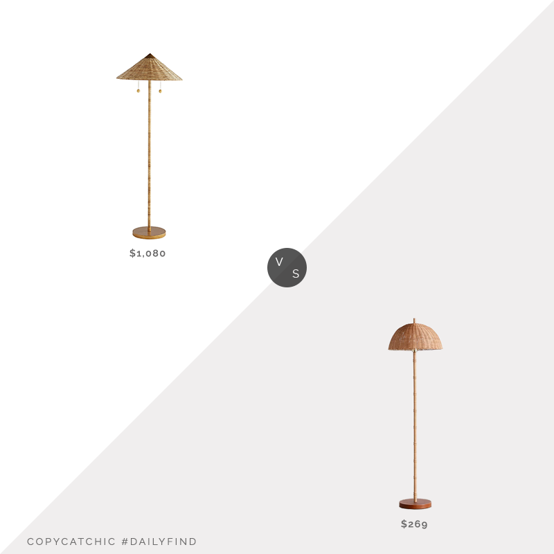 Daily Find: Lumens Celerie Kemble for Arteriors Terrace Floor Lamp vs. Urban Outfitters Willow Rattan Floor Lamp, rattan floor lamp look for less, copycatchic luxe living for less, budget home decor and design, daily finds, home trends, sales, budget travel and room redos