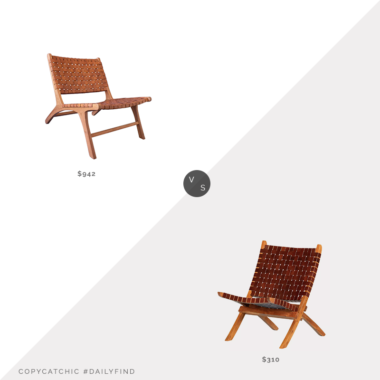 Daily Find: Modish Oslo Leather & Teak Lounge Chair by Artisan Living vs. Target Balka Woven Leather Lounge Chair by South Shore, woven leather chair look for less, copycatchic luxe living for less, budget home decor and design, daily finds, home trends, sales, budget travel and room redos
