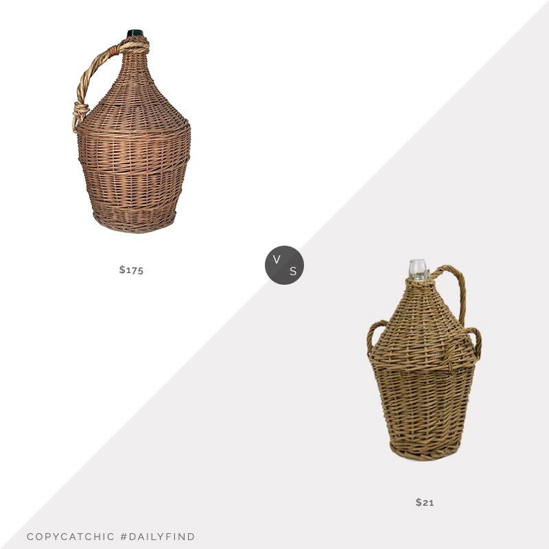 Daily Find: Chairish French Wicker Wrapped Demijohn vs. Houzz Willow Bottle Home Accent, wicker demijohn look for less, copycatchic luxe living for less, budget home decor and design, daily finds, home trends, sales, budget travel and room redos