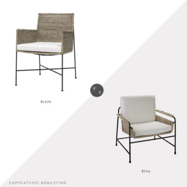 """Daily Find: Kathy Kuo Palecek Nora Coastal Beach Brown Rattan Arm Chair vs. Wayfair Bayou Breeze Cato 28"""" Wide Arm Chair, woven and metal chair look for less, copycatchic luxe living for less, budget home decor and design, daily finds, home trends, sales, budget travel and room redos"""