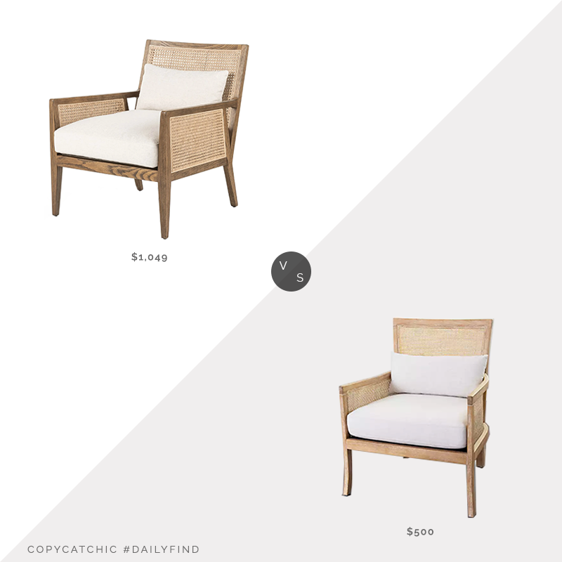 Daily Find: Burke Decor Antonia Chair vs. Kirkland's Natural Cane Accent Chair with Cream Cushions, cane chair with cushions look for less, copycatchic luxe living for less, budget home decor and design, daily finds, home trends, sales, budget travel and room redos