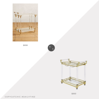 Daily Find: Anthropologie Oscarine Lucite Bar Cart vs. Houzz Coaster Kitchen Carts Serving Cart, lucite bar cart look for less, copycatchic luxe living for less, budget home decor and design, daily finds, home trends, sales, budget travel and room redos