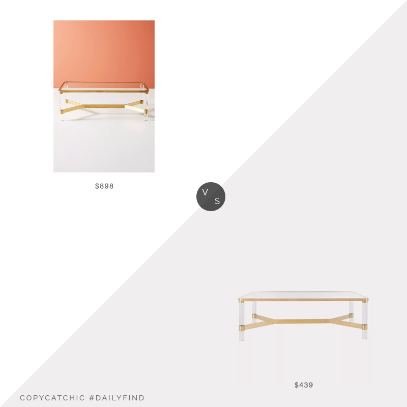 Daily Find: Anthropologie Oscarine Lucite Coffee Table vs. Houzz Suzanna Acrylic Coffee Table, lucite coffee table look for less, copycatchic luxe living for less, budget home decor and design, daily finds, home trends, sales, budget travel and room redos