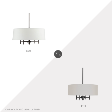 Daily Find: Crate and Barrel Arlington Bronze Chandelier vs. Amazon Stone & Beam Contemporary Pendant Chandelier with White Shade, chandelier with shade look for less, copycatchic luxe living for less, budget home decor and design, daily finds, home trends, sales, budget travel and room redos