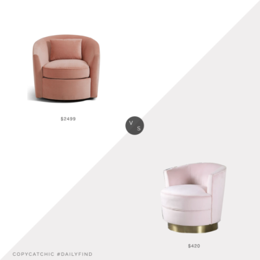 Daily Find: Horchow Bernhardt Elizabeth Blush Swivel Chairvs. Wayfair Mercer 41 Phil Swivel Armchair in Pink, pink chair look for less, copycatchic luxe living for less, budget home decor and design, daily finds, home trends, sales, budget travel and room redos