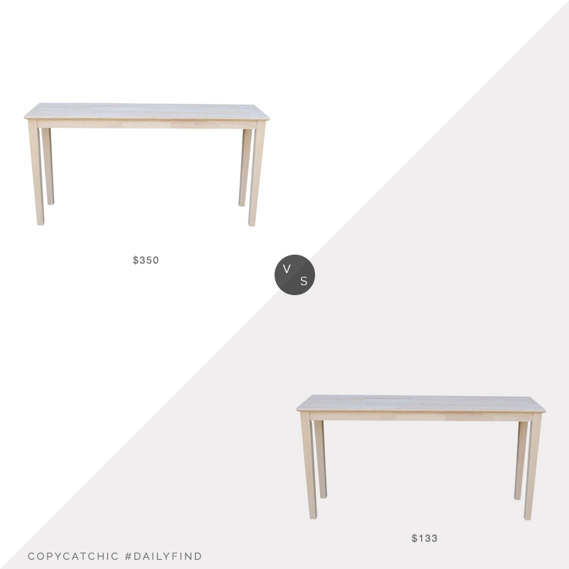 Daily Find: Houzz Durable Unfinished Shaker Extended Length Console Table vs. Amazon International Concepts Console Table, wood console table look for less, copycatchic luxe living for less, budget home decor and design, daily finds, home trends, sales, budget travel and room redos