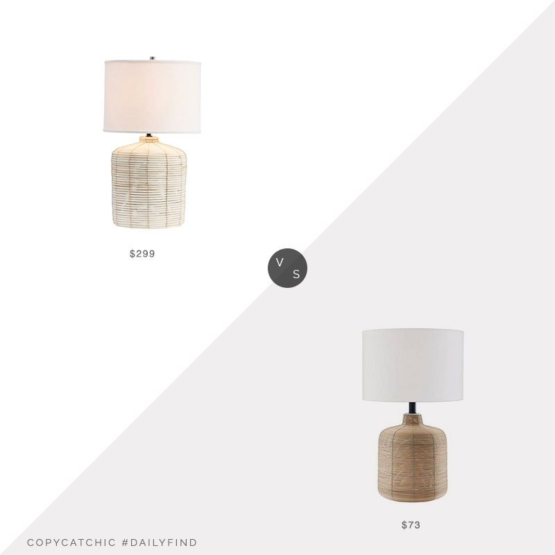 Daily Find: Pottery Barn Cambria Rattan Table Lamp vs. Amazon Henna & Hart Modern Petite Rattan Table Lamp, rattan table lamp look for less, copycatchic luxe living for less, budget home decor and design, daily finds, home trends, sales, budget travel and room redos