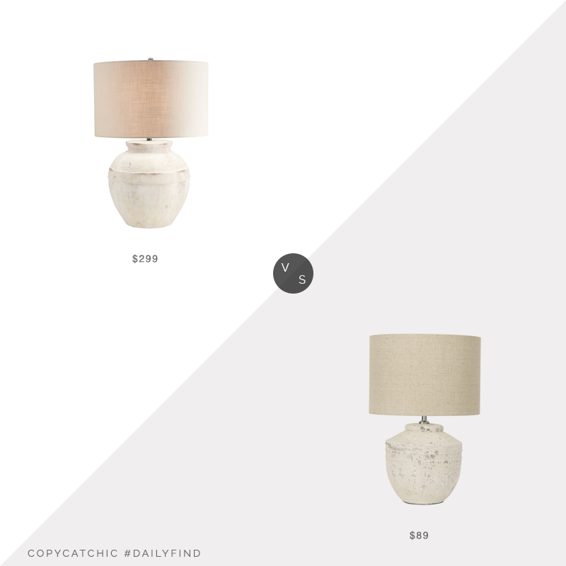 Daily Find: Pottery Barn Faris Ceramic Table Lamp vs. Overstock Cement Table Lamp with Linen Shade, cement table lamp look for less, copycatchic luxe living for less, budget home decor and design, daily finds, home trends, sales, budget travel and room redos
