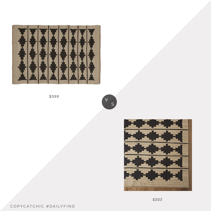 Daily Find: Rejuvenation Bowen Flatweave Jute Rug vs. Etsy Natural Hemp Jute Rug, black natural flatweave rug look for less, copycatchic luxe living for less, budget home decor and design, daily finds, home trends, sales, budget travel and room redos