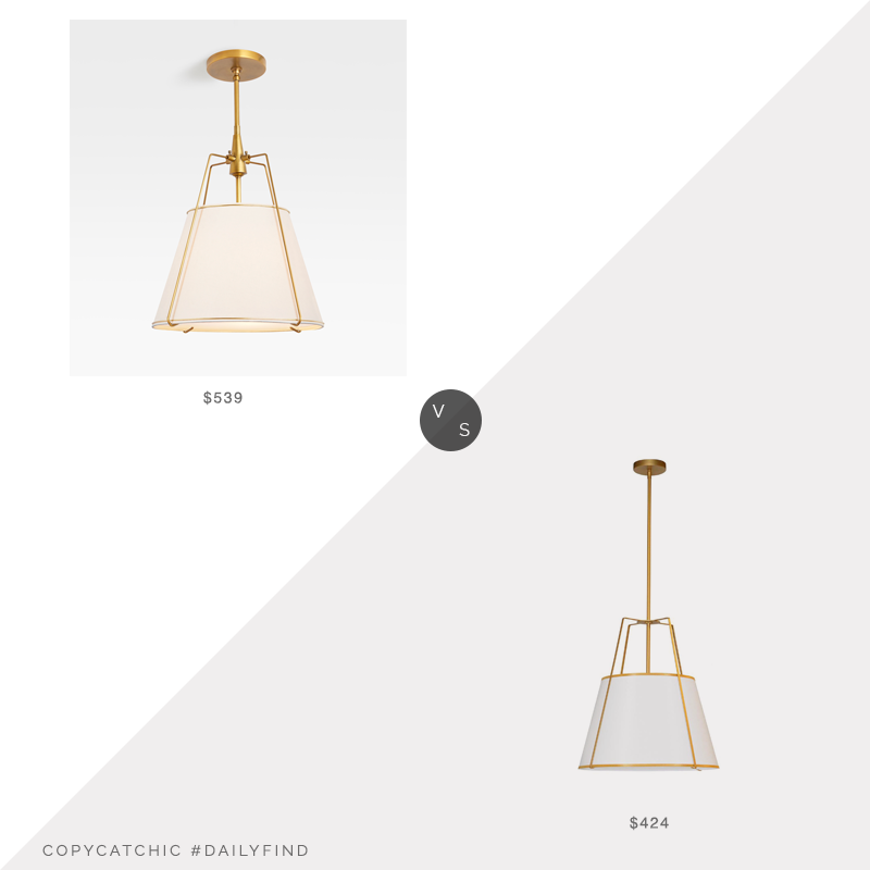Daily Find: Rejuvenation Conical Aged Brass Pendant vs. 1800 Lighting Trapazoid Large Pendant, brass pendant light look for less, copycatchic luxe living for less, budget home decor and design, daily finds, home trends, sales, budget travel and room redos