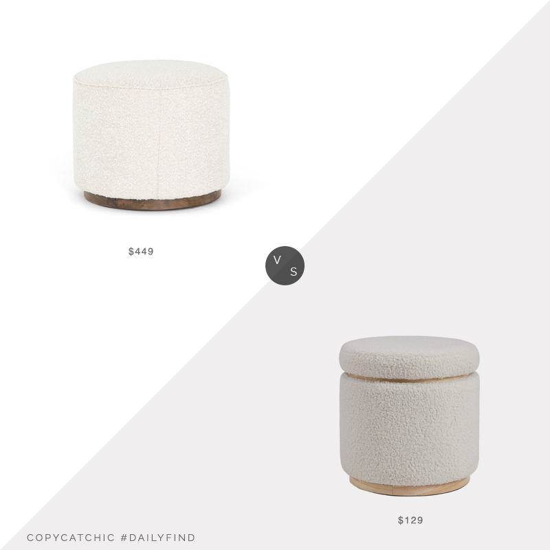 Daily Find: Scout & Nimble Sinclair Round Ottoman Knoll Natural vs. Overstock Rue Sherpa Storage Ottoman, boucle ottoman look for less, copycatchic luxe living for less, budget home decor and design, daily finds, home trends, sales, budget travel and room redos