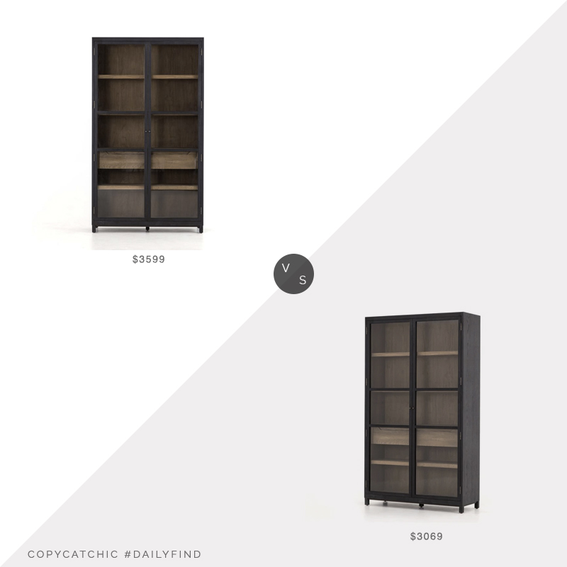Daily Find: West Elm Drifted Oak and Glass Cabinet vs. Elm and Iron Shelton Cabinet, glass front cabinet look for less, copycatchic luxe living for less, budget home decor and design, daily finds, home trends, sales, budget travel and room redos