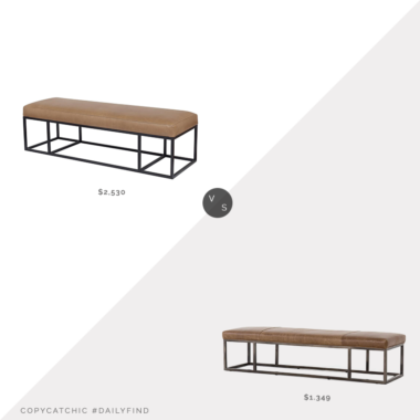 Daily Find: Kathy Kuo Farrah Industrial Leather Bench vs. France & Son Four Hands Beaumont Bench, leather bench look for less, copycatchic luxe living for less, budget home decor and design, daily finds, home trends, sales, budget travel and room redos