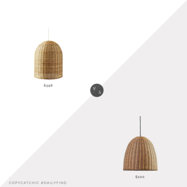 Daily Find: Serena & Lily Santa Barbara Pendant vs. Kirkland's Natural Rattan Dome Pendant Light, rattan light fixture look for less, copycatchic luxe living for less, budget home decor and design, daily finds, home trends, sales, budget travel and room redos