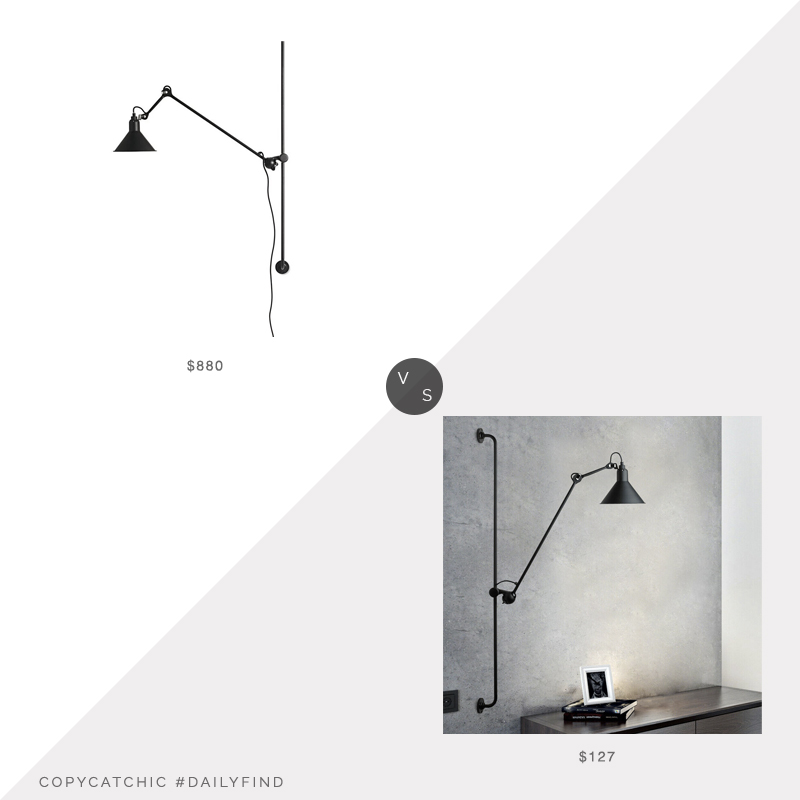 Daily Find: Interior Deluxe Lampe Gras vs. Walmart Vintage Industrial Swing Arm Wall Lamp, industrial wall lamp look for less, copycatchic luxe living for less, budget home decor and design, daily finds, home trends, sales, budget travel and room redos