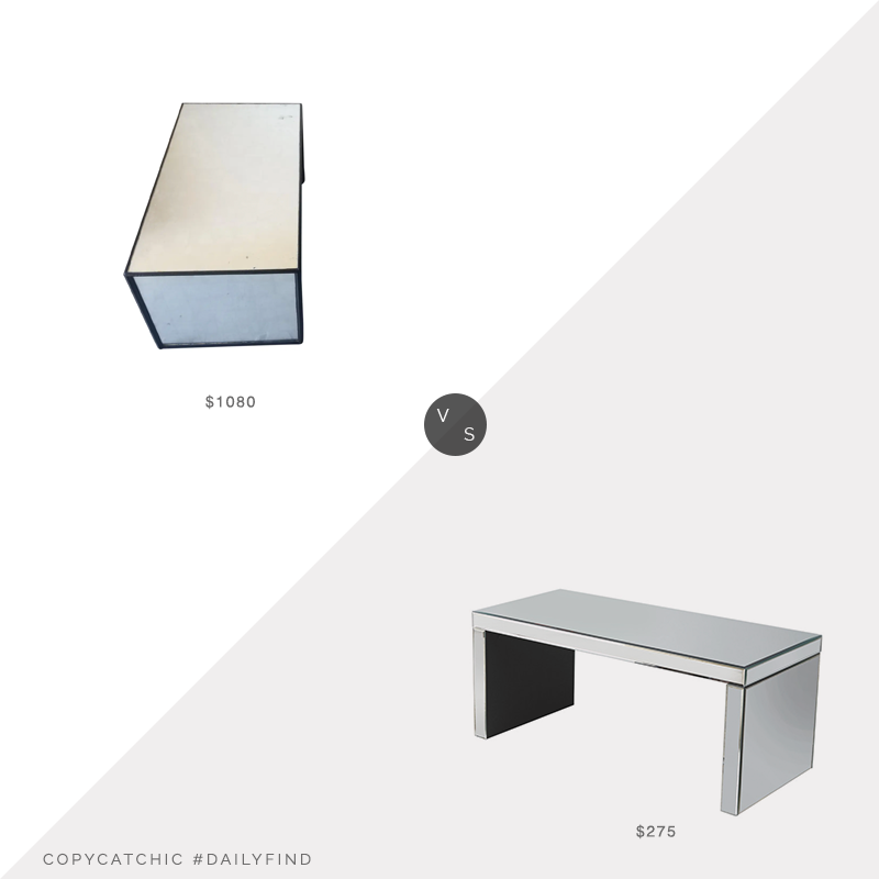 Daily Find: Chairish Contemporary Mirrored Waterfall Coffee Table vs. Houzz Bridget Mirror Coffee Table, mirrored coffee table look for less, copycatchic luxe living for less, budget home decor and design, daily finds, home trends, sales, budget travel and room redos