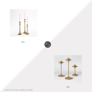 Daily Find: Crate & Barrel Emmett Antique Brass Taper Candle Holdersvs. Target Threshold Set of 3 Tapers Cast Aluminum Candle Holders with Brass Finish Gold, brass candlesticks look for less, copycatchic luxe living for less, budget home decor and design, daily finds, home trends, sales, budget travel and room redos