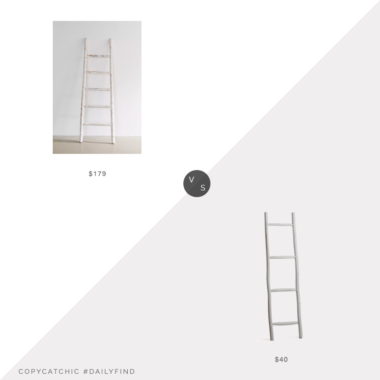 Daily Find: Urban Outfitters Leaning Blanket Ladder vs. TJ Maxx JT Rose 58in 4 Rung Ladder, decorative ladder look for less, copycatchic luxe living for less, budget home decor and design, daily finds, home trends, sales, budget travel and room redos