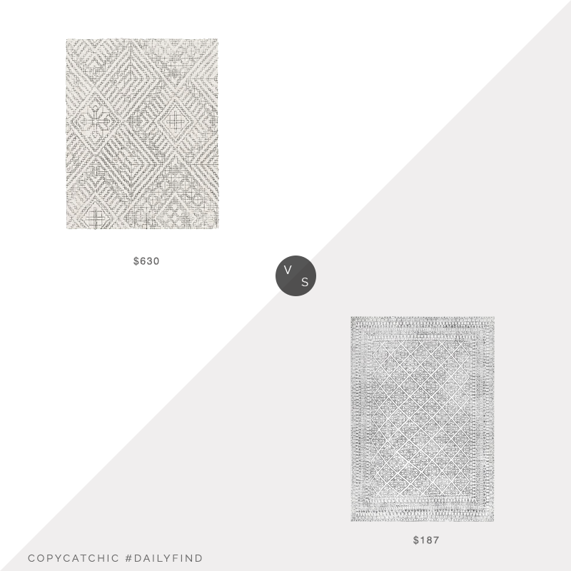 Daily Find: West Elm Stone Tile Rug vs. Rugs USA Primavera Tiled Tracery Beige Rug, gray white rug look for less, copycatchic luxe living for less, budget home decor and design, daily finds, home trends, sales, budget travel and room redos
