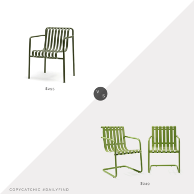 Daily Find: Hay Palissade Dining Armchair vs. Home Depot Crosley Gracie Green Metal Outdoor Chairs (Set of 2), green outdoor chairs look for less, copycatchic luxe living for less, budget home decor and design, daily finds, home trends, sales, budget travel and room redos