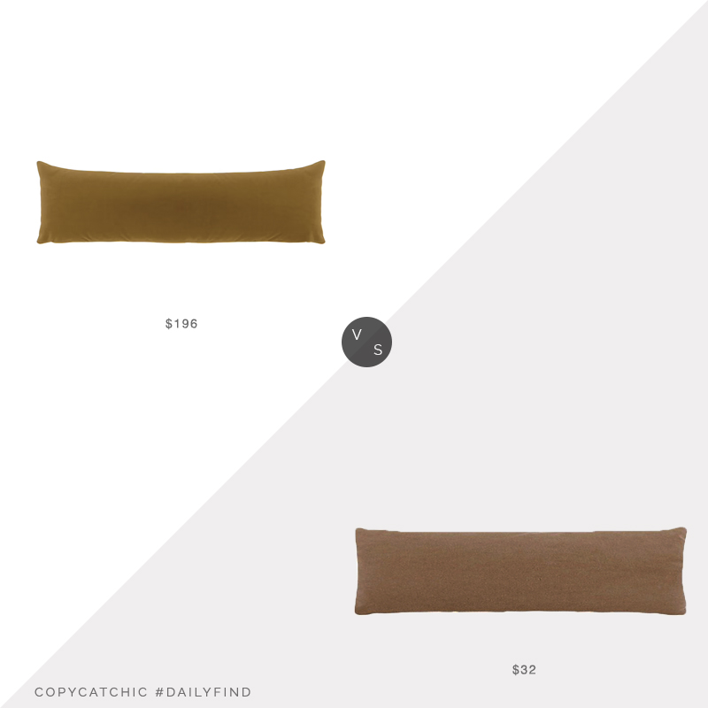 Daily Find: Etsy Little Design Co Lumbar Pillow vs. Bed Bath and Beyond O&O Velvet Oblong Pillow, extra long velvet lumbar pillow look for less, copycatchic luxe living for less, budget home decor and design, daily finds, home trends, sales, budget travel and room redos