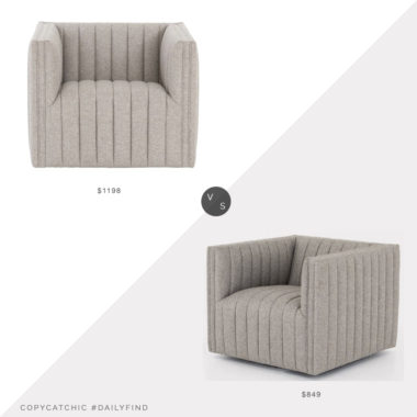 Daily Find: Pure Salt August Accent Chair vs. France and Son Augustine Accent Chair, channel tufted chair look for less, copycatchic luxe living for less, budget home decor and design, daily finds, home trends, sales, budget travel and room redos