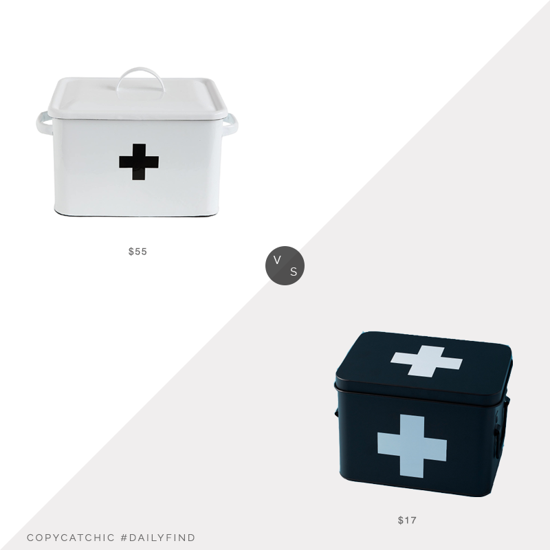 Daily Find: Amazon Creative Co-Op Enameled First Aid Boxvs. Home Goods Metal First Aid Kit Box, first aid box look for less, copycatchic luxe living for less, budget home decor and design, daily finds, home trends, sales, budget travel and room redos