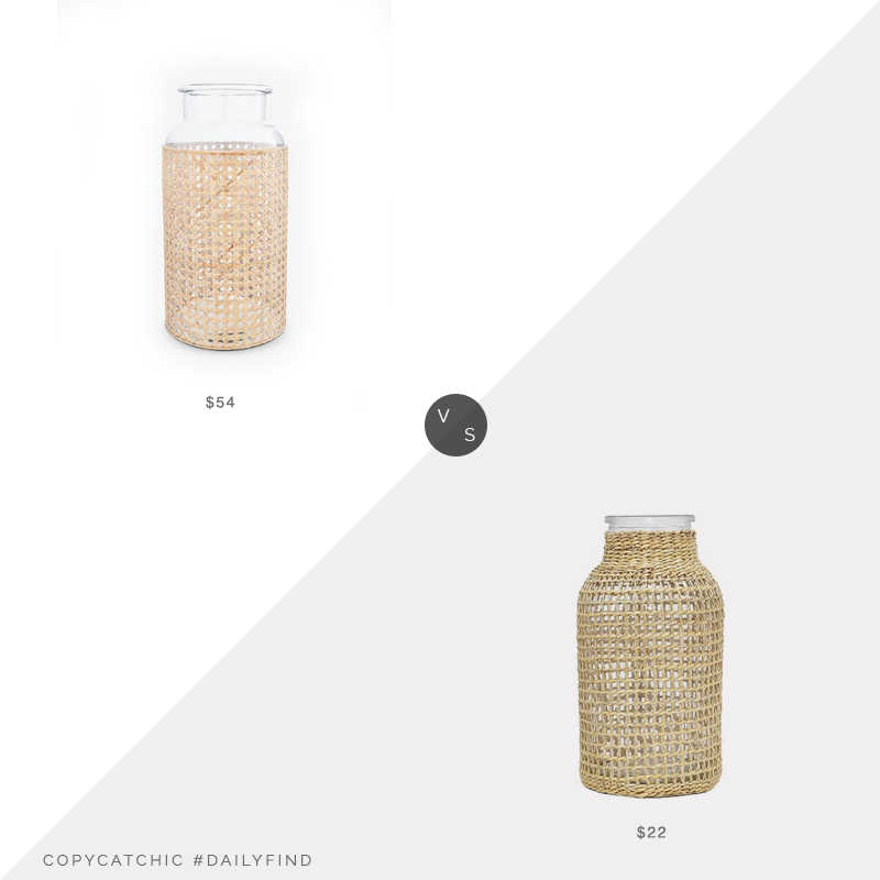 Daily Find: Lulu & Georgia Alysha Vase vs. Amazon PreZervors Glass Vase with Woven Straw Decor, rattan vase look for less, copycatchic luxe living for less, budget home decor and design, daily finds, home trends, sales, budget travel and room redos