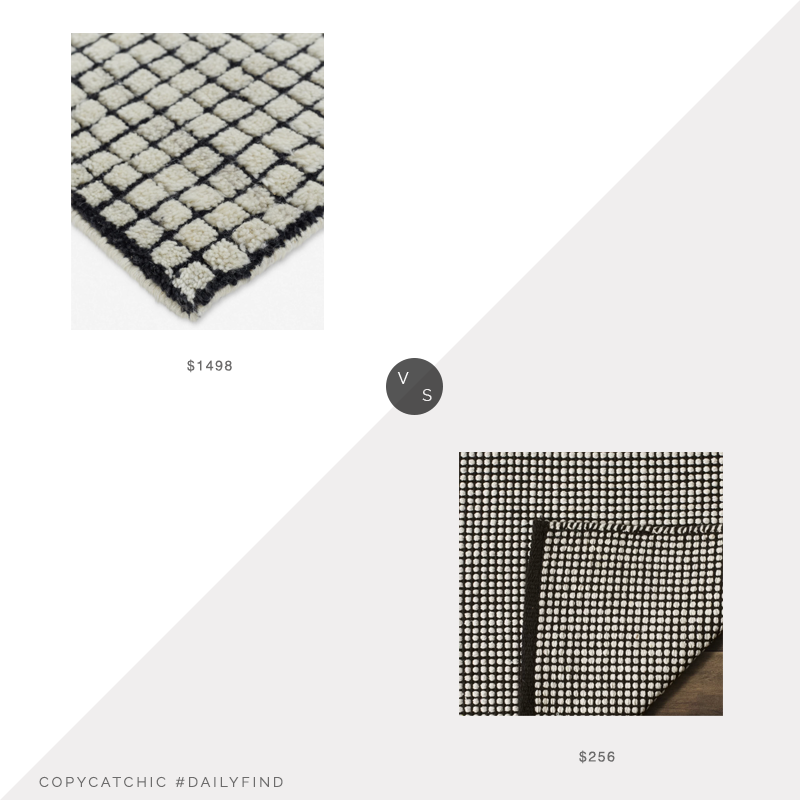 Daily Find: Lulu and Georgia Uma Rug vs. Wayfair Highland Dunes Cayman Ivory/Black Area Rug, black white grid rug look for less, copycatchic luxe living for less, budget home decor and design, daily finds, home trends, sales, budget travel and room redos
