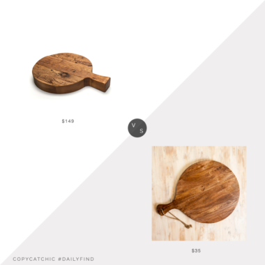 Daily Find: West Elm Medium Italian Cutting Board vs. Kirkland's Antique Wooden Paddle Board Serving Board, round cutting board look for less, round cutting board look for less, copycatchic luxe living for less, budget home decor and design, daily finds, home trends, sales, budget travel and room redos