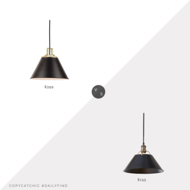 Daily Find: Rejuvenation Butte Cone Aged Brass Pendant vs. Shades of Light Truncated Cone Shade Pendant, black cone pendant light look for less, copycatchic luxe living for less, budget home decor and design, daily finds, home trends, sales, budget travel and room redos